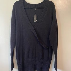 Express black surplice sweater